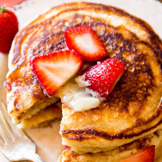 Strawberry Buttermilk Pancakes with Honey Butter