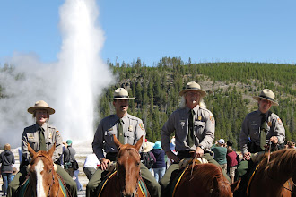 Photo: Yellowstone National Park Rangers at the Old Faithful Visitor Center Grand Opening - Yellowstone National Park, Wyoming