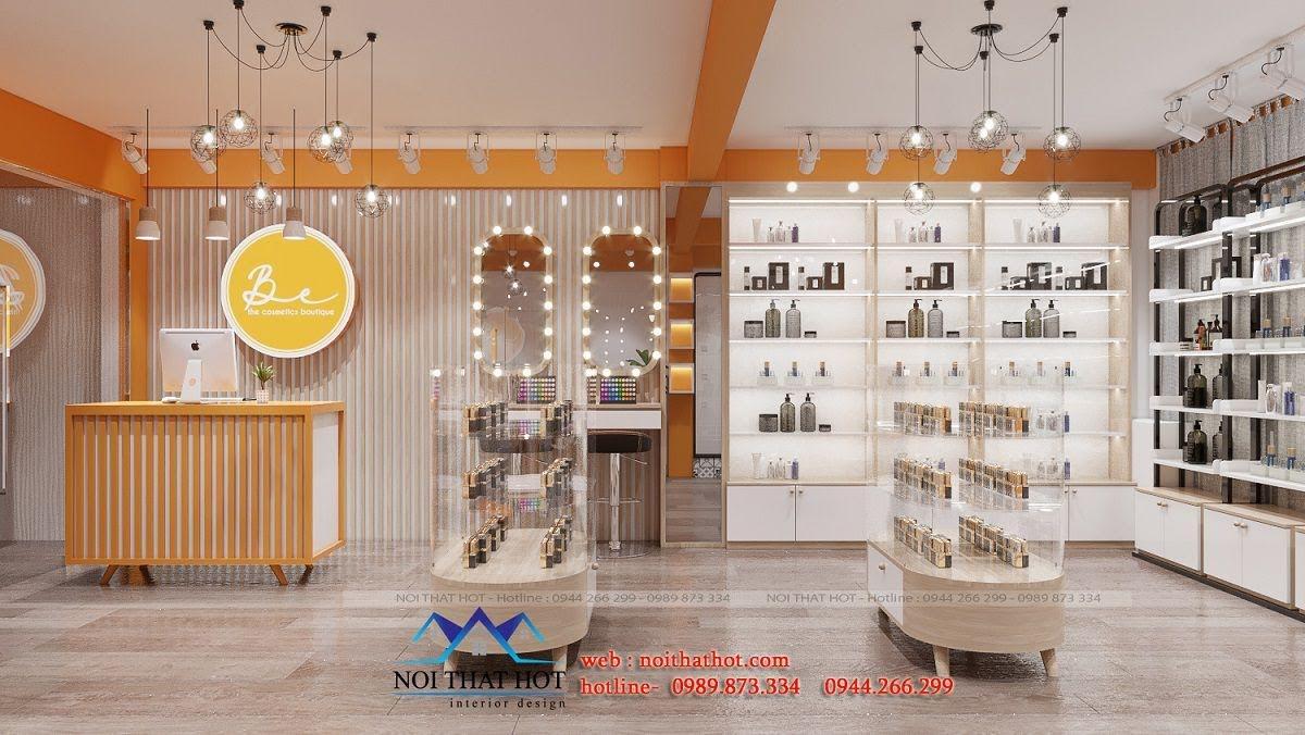 thiết kế shop mỹ phẩm nhỏ đẹp bán online