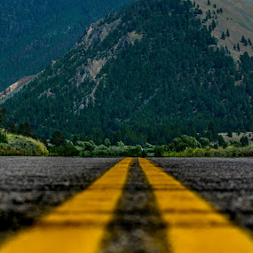 On the Road by Bethany McGregor - Transportation Roads ( pavement, road, rockies, montana, highway, yellowstone,  )