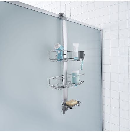 Duschhylla Simplehuman BT1101 för montage ovanpå duschvägg.