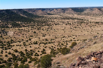 Photo: View back down to the NE from Black Mesa. Our vans and companions are down there somwhere.