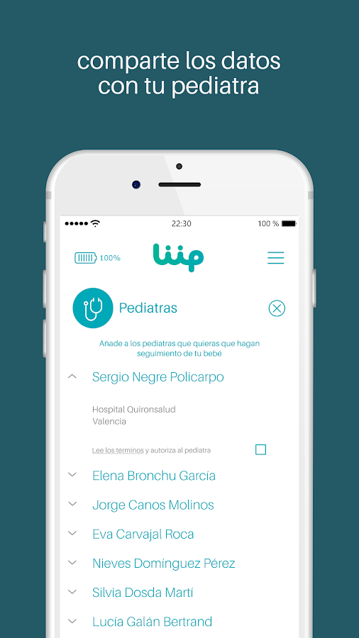 Liip Care: captura de pantalla