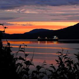 Salish Sea Sunrise I  by Campbell McCubbin - Landscapes Sunsets & Sunrises ( sunrise, island, freighter, ship, dawn )