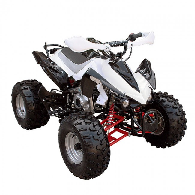 "125cc Sports Quad Bike ATV White 8"" wheels"