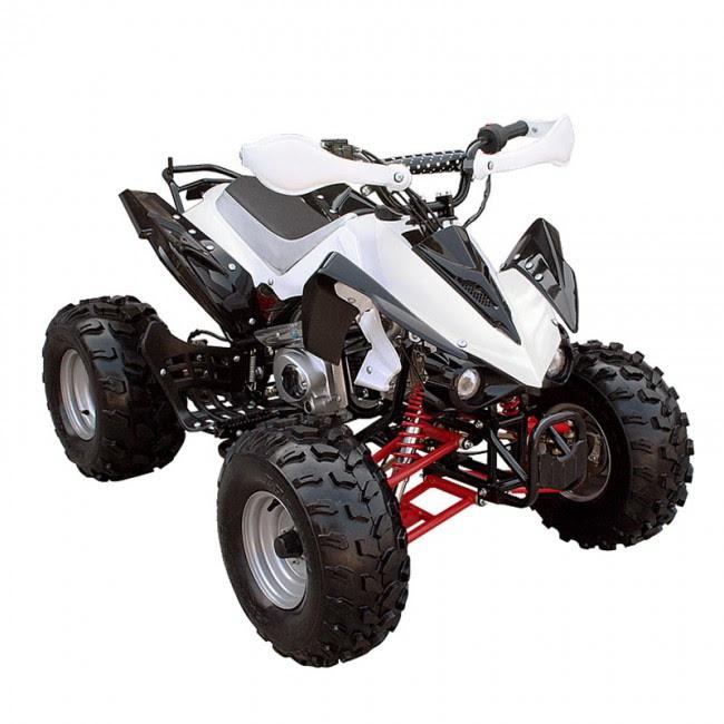 """125cc Sports Quad Bike ATV White 8"""" wheels"""