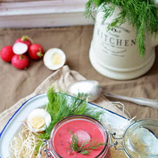 Chłodnik (cold Polish Beetroot Soup).