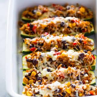 Meatless Zucchini Burrito Boats.