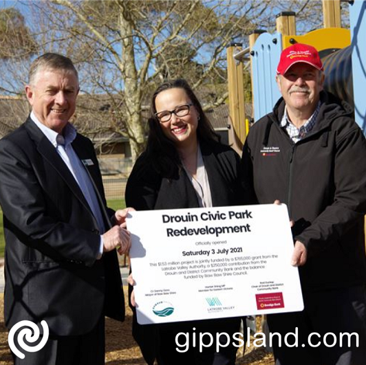 Baw Baw Shire Mayor Danny Goss, Member for Eastern Victoria Harriet Shing MP and Drouin and District Community Bank Chair Rod Dunlop officially open the upgraded park