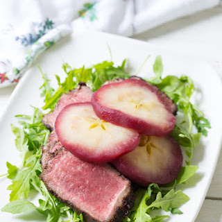 Poached Apple NY Strip Steak.