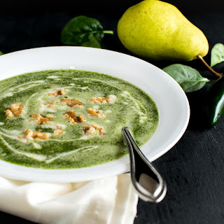 Fire Roasted Jalapeno Pear Spinach Soup.