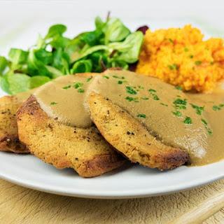 Easy Vegan Chicken Fillets With Mushroom Gravy And Sweet Potato Mash.