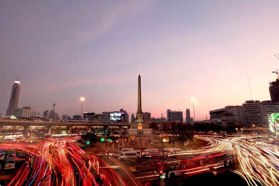 Light trails in Bangkok by Asher Lwin - City,  Street & Park  Skylines ( bangkok, sky, sunset, long exposure, landscape, light )
