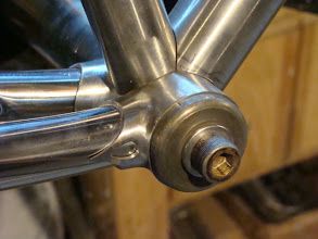 Photo: I brazed some tabs onto the bottom bracket's chainstay sockets so that I could add the Modern Classic teardrop cutouts.