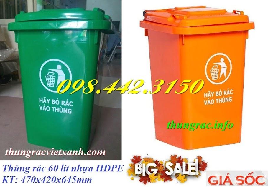 Thùng rác 60 lít nhựa hdpe