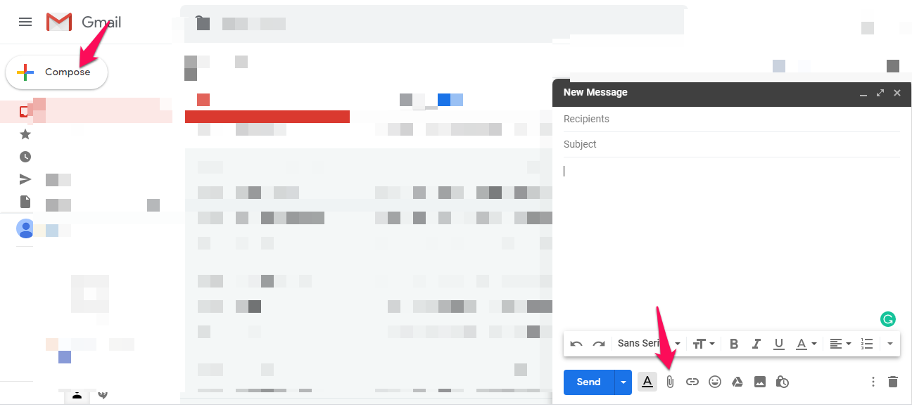 Sending a video as an email attachment in Gmail.