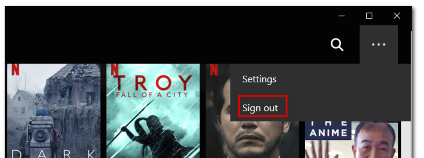 Sign out from Netflix UWP App