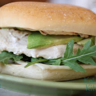 Grilled Chicken Sandwich with Sundried Tomato Mayo, Arugula, Havarti and Avocado.