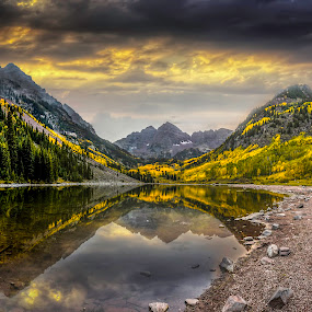 Maroon Bells Sunrise Reflection  by Chad Weisser - Landscapes Mountains & Hills ( fall colors, snowmass, maroon bell, rocky mountains, pwcreflections, lake, aspen, maroon peak, mountains, weisser photography, sunset, sunrise, maroon bells, elk mountains,  )