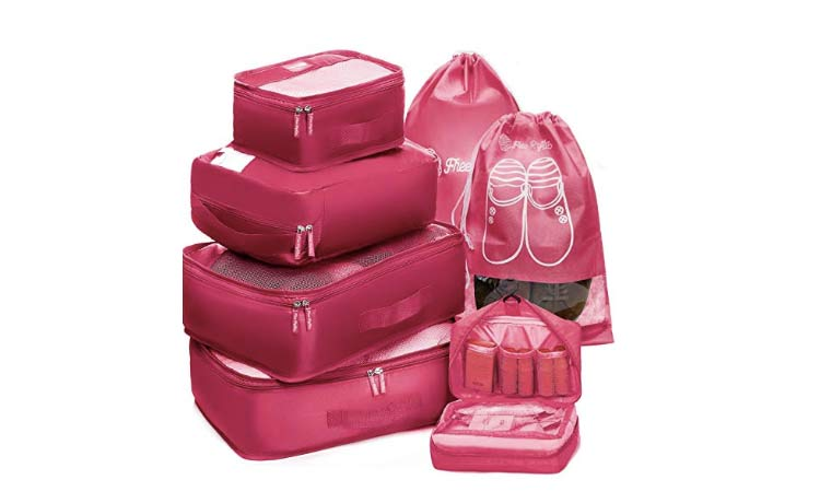 A seven-piece Packing Cubes Travel Set from Free Rhythm.