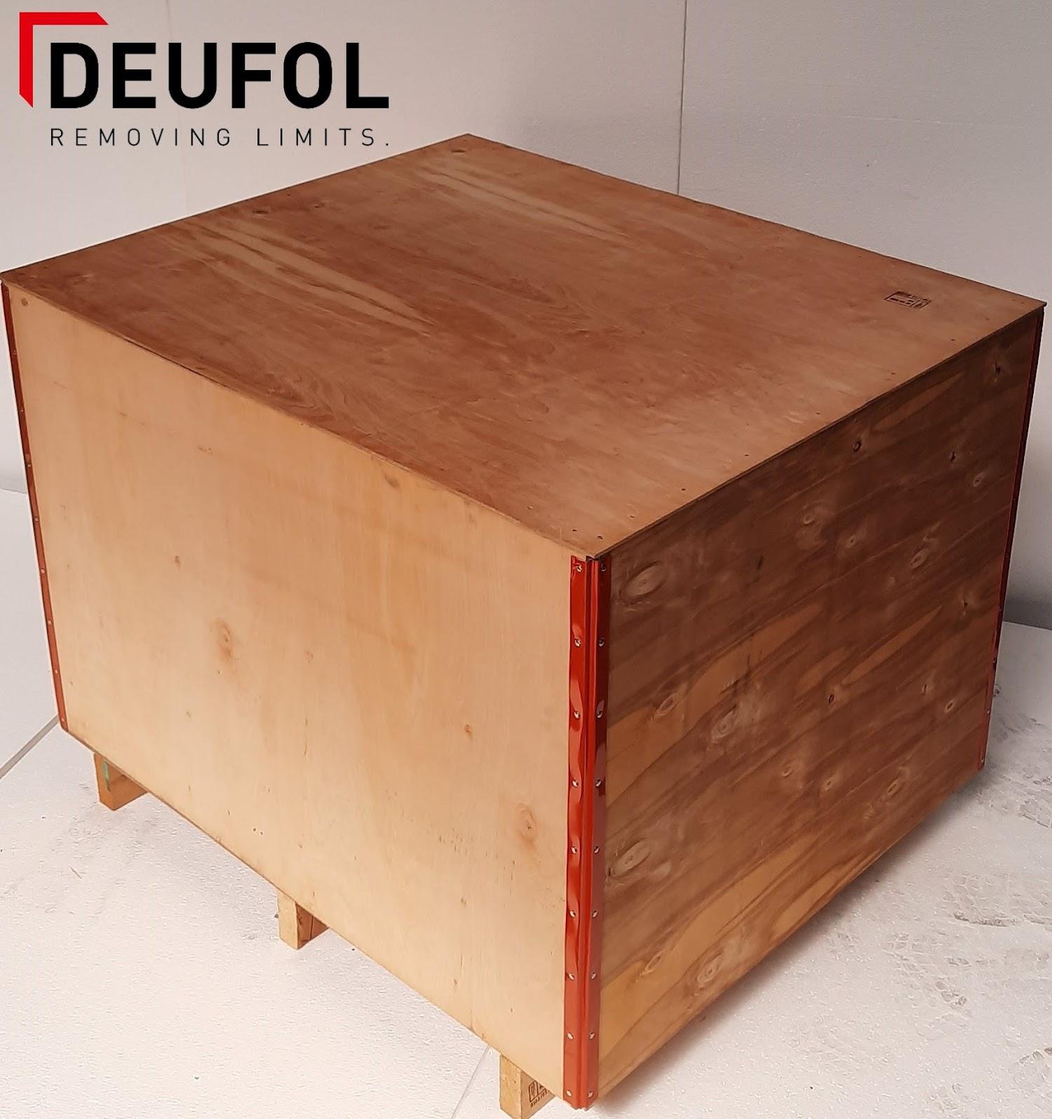 Houten transportkist met deksel 120x100x92cm