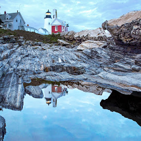 Reflection of Pemaquid Light House by Terri Schaffer - Landscapes Travel ( puddle, maine, rocky coast, rocks, reflection, granite, clouds, pemaquid, light house )