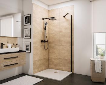Paroi latérale pour porte de douche coulissante avec roulettes en haut, style industriel, profilé noir