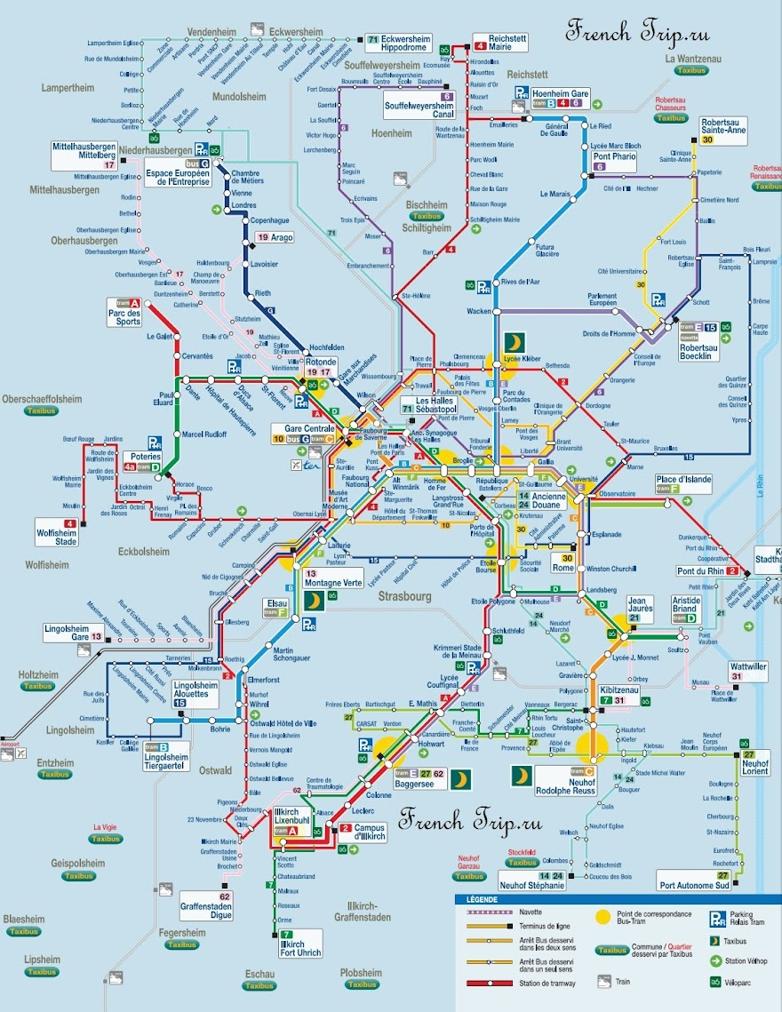 Схема маршрутов автобусов в окрестностях Страсбурга, Эльзас