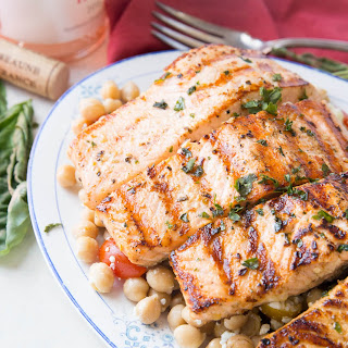 Easy Grilled Salmon Recipe with Chickpea Salsa.