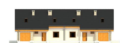 Alka z garażem 1-st. bliźniak A-BL2 - Elewacja przednia