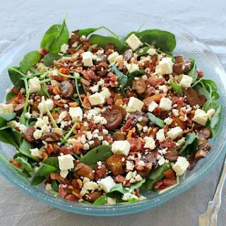 Balsamic Mushroom Bacon Spinach Salad.