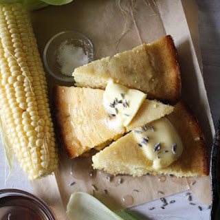 Sweet Cornbread with Lavender Syrup.