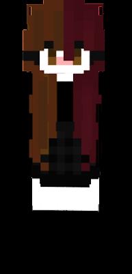 Egirl red and brown split dye hair girl skrit kawaii cute