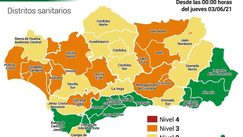 Mapa de niveles de alerta en Andalucía.