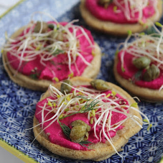 Teff Blinis with Beetroot Cashew Cheese