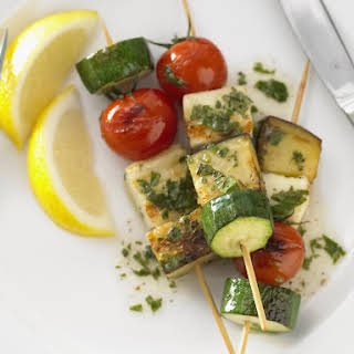 Vegetable and Halloumi Skewers.