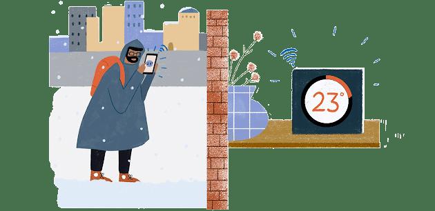 Un hombre camina por una ciudad nevada mientras controla el termostato de su casa desde su teléfono inteligente.   Al otro lado de la ciudad, su termostato se ilumina: unos agradables 23 grados.