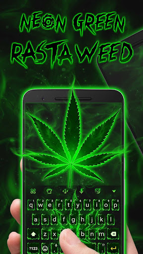 Neon Green Rasta Weed Keyboard Theme for Android for PC