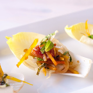Fennel and Beet Endive Appetizer.