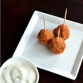 Red Curry Chicken Sausage Meatballs with Dill Sour Cream Dipping Sauce.