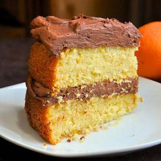 Orange Velvet Cake with Chocolate Buttercream Frosting.