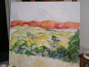 Photo: 2009 In progress. View north from Paul Masson winery. Saratoga, CA. Oil.