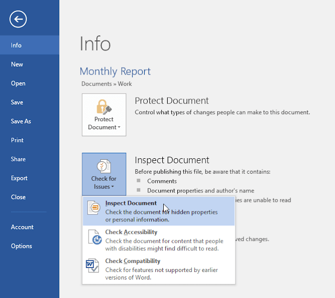 Microsoft Office Inspect Document