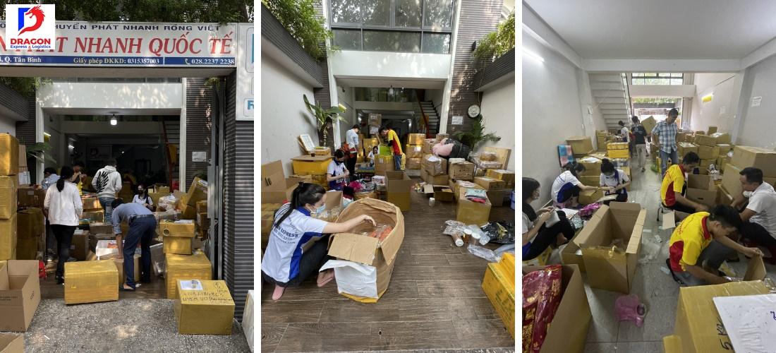 Những kiện hàng được đóng gói và chuyển đi tại chi nhánh Tân Bình