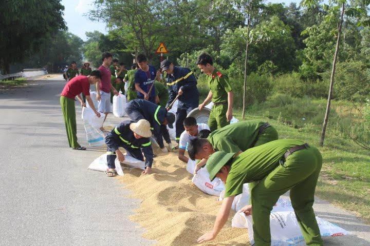 Giúp đỡ bà con nhân dân thu hoạch lúa.
