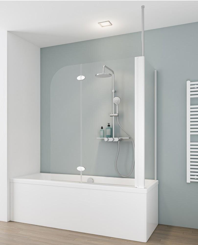 2 volets pare baignoire paroi laterale 114 x 68 x 140 cm transparent profile blanc droite