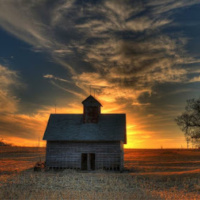 Lonely by Casey Mitchell - Buildings & Architecture Decaying & Abandoned ( old, sunset, corn crib, abandoned,  )