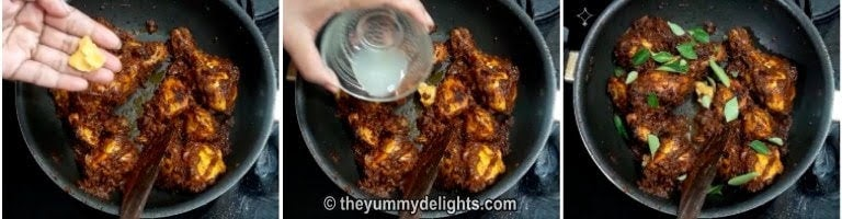 Addition of jaggery, lemon juice and curry leaves to make chicken ghee roast
