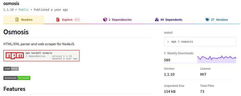 Osmosis - Node.js парсинг сайтов