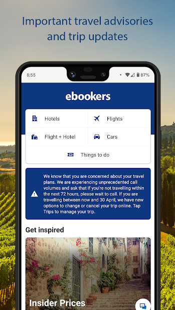 ebookers - Hotels, Flights & Package deals Android App Screenshot